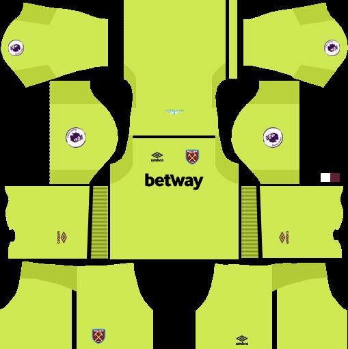 West Ham United Goalkeeper Home Kits DLS 2018