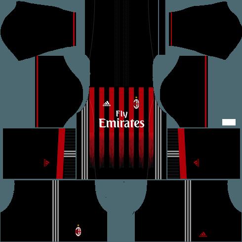 Dream League Soccer AC Milan home kit 2018 - 2019-2020