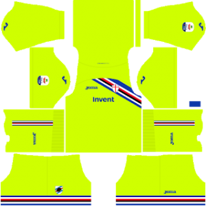 Dream League Soccer Sampdoria goalkeeper home kit 2018-2019